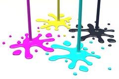 3D图表,隐喻,打印, CMYK,墨水弄脏 免版税图库摄影