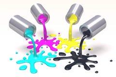 3D图表,隐喻,打印, CMYK,墨水装于罐中并且弄脏 免版税库存照片