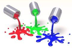 3D图表,隐喻, RGB -绘罐头,污点 库存图片