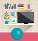 3d图象内部客厅 电视和书架 库存照片