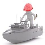 3D图翻译与锤子和红色安全帽的 库存图片