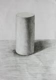 3D圆筒铅笔剪影 库存例证