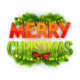3D圣诞快乐庆祝的文本 免版税库存图片