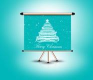 3d圣诞树,蓝色背景身分  免版税库存图片