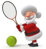3d圣诞老人打网球 免版税库存图片