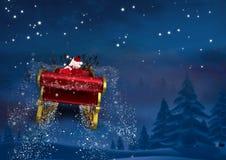 3D圣诞老人骑马往天空的驯鹿雪橇 免版税库存图片