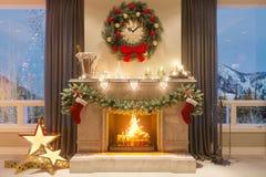 3d圣诞节内部的例证与壁炉和礼物的 明信片或海报的一个图象 向量例证