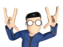3D在一个凉快的姿势的漫画人物 库存照片