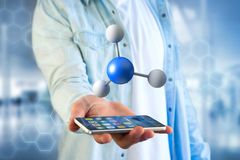 3d在一个医疗接口显示的翻译分子 免版税图库摄影