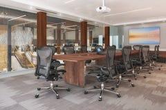 3d在一个开放学制办事处回报-会议室 库存照片