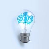 3d在一个电灯泡的金属人脑 免版税库存照片