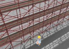 3D在举他的手的愉快的建造者旁边的脚手架天空视图  皇族释放例证