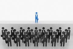3D在人群的商人立场在阶段 免版税库存图片