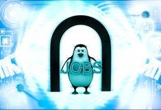 3d在入口下的企鹅和举行工作发短信给手中例证 库存图片