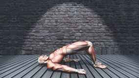 3D在双重腿桥梁姿势的男性图在难看的东西内部2009年 库存例证
