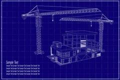 3D在图纸的大厦 库存图片