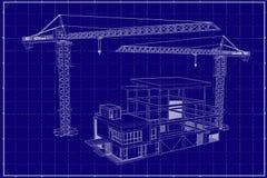 3D在图纸的大厦 图库摄影