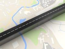 3d在地图的路 免版税库存图片