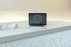 3D在地板上的计算机与标志 免版税图库摄影