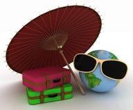 在太阳镜的地球有的手提箱 免版税库存图片