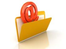 3d在文件夹的电子邮件 库存照片