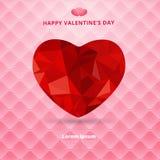 3d在桃红色方形的豪华的origami心脏低多角形设计阴影 免版税库存图片