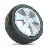 3d在橡胶轮胎轮子白色的背景例证 查出在白色 图库摄影