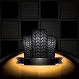 3d在橡胶轮胎轮子白色的背景例证 免版税库存图片