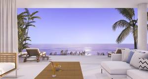 3d在海滩和棕榈树附近的翻译豪华别墅客厅与从窗口的美好的晚上场面 免版税库存照片