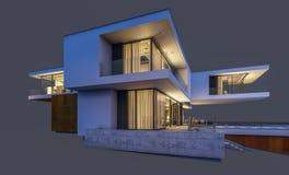 3d在灰色在晚上隔绝的现代房子翻译  免版税图库摄影