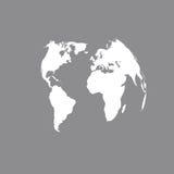 3D在灰色的地球地图 在灰色的世界地图空白 例证映射旧世界 库存例证