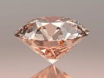 3D在灰色背景的例证红色桃红色圆的金刚石与反射 库存照片