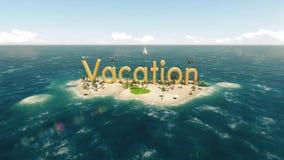 3d在热带天堂海岛上的词假期有棕榈树的太阳帐篷 皇族释放例证