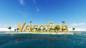 3d在热带天堂海岛上的词假期有棕榈树的太阳帐篷 库存照片