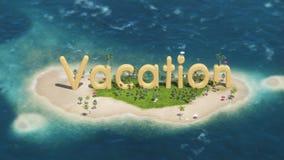 3d在热带天堂海岛上的词假期有棕榈树的太阳帐篷 免版税库存照片
