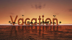 3d在热带天堂海岛上的词假期有棕榈树的太阳帐篷 库存图片