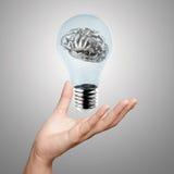 3d在电灯泡的金属人脑 免版税库存照片