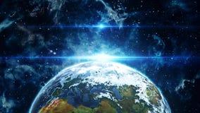 3D在白天介绍商标行动背景背景的地球 股票录像