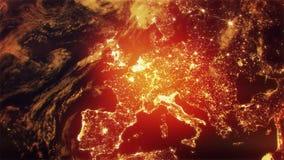 3D在白天介绍商标行动背景Backdrop3D地球的地球在欧洲亚洲介绍行动背景的夜定点飞越之前 股票视频