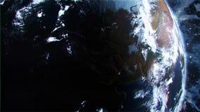 3D在白天定点飞越的地球在北美美国介绍行动Background3D地球在白天定点飞越介绍商标行动背景中 股票视频