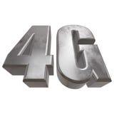3D在白色的金属4G象 图库摄影