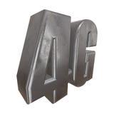 3D在白色的金属4G象 免版税库存图片