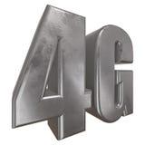 3D在白色的金属4G象 库存图片