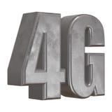 3D在白色的金属4G象 免版税图库摄影