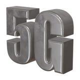 3D在白色的金属5G象 图库摄影