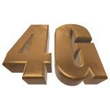 3D在白色的金4G象 免版税库存照片