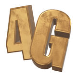 3D在白色的金4G象 库存照片