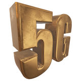 3D在白色的金5G象 库存照片