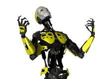 3D在白色的翻译机器人 免版税图库摄影