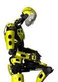 3D在白色的翻译机器人 免版税库存照片